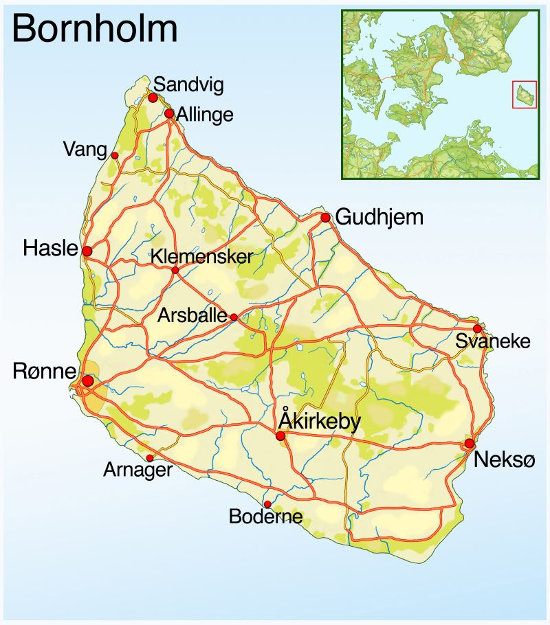 Landkarte Bornholm Dänemark